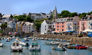 Port of Sauzon and the centre town on the island of Belle Ile in the Morbihan department in Brittany in north-western France.