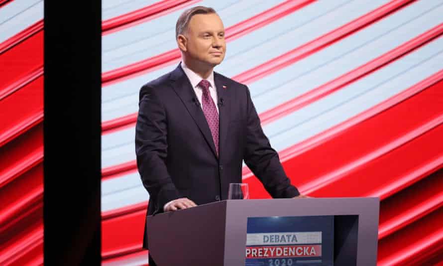 Polish president Andrzej Duda during a television debate, Warsaw, Poland, 17 June 2020