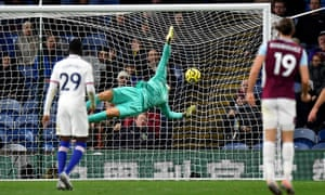 Chelsea goalkeeper Kepa Arrizabalaga is unable to stop Jay Rodriguez pulling a goal back for Burnley.