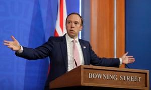 Health secretary Matt Hancock gestures during a virtual press conference.