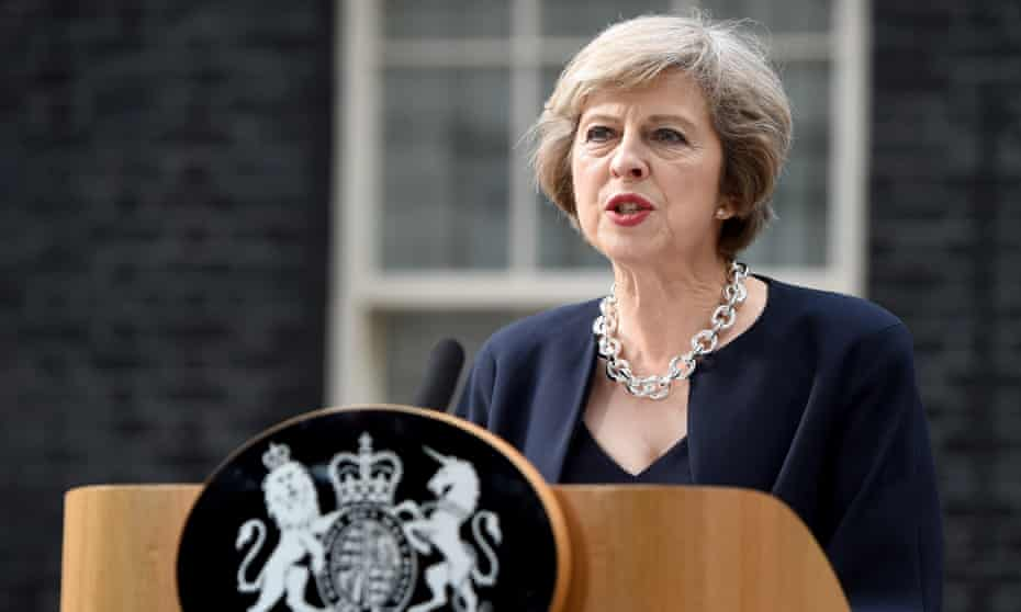 theresa May's first speech as prime minister, in July  2016