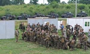 Ukrainian, US and Lithuanian soldiers gather for joint military exercises in Yavoriv training ground, near the western Ukrainian city of Lviv.