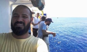 Youssef Ramadan Said, aka MC Swat, from Benghazi, aboard the Aquarius, a vessel operated by the French NGO SOS Méditerranée and Médecins Sans Frontières