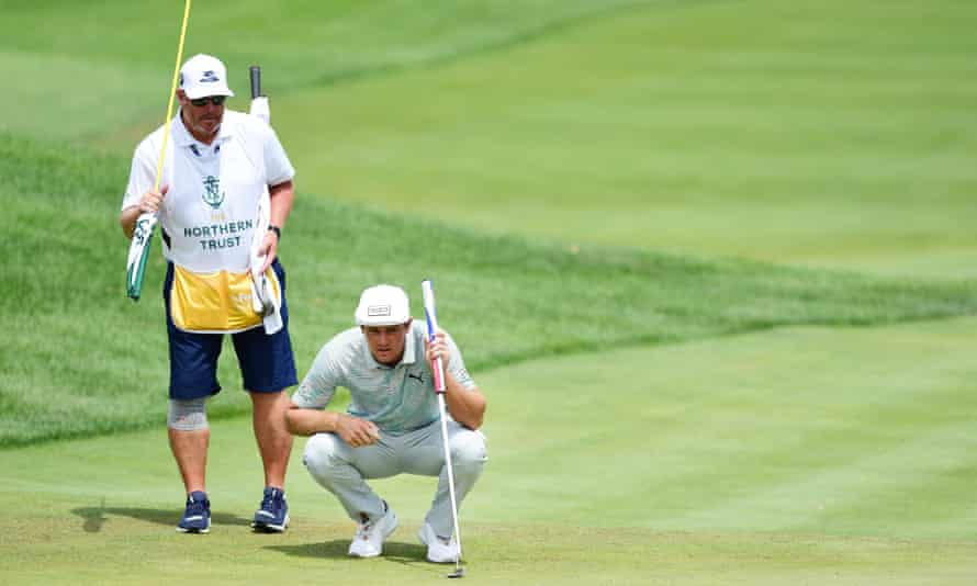 Bryson DeChambeau lines up a putt during the Northern Trust event last weekend.