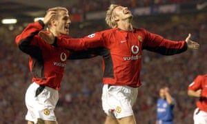 With David Beckham at Old Trafford in 2003.