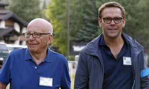 Rupert Murdoch with his youngest son James.