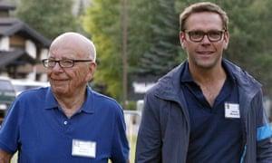 James Murdoch, right, with his father Rupert Murdoch.