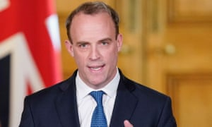 Dominic Raab holding a digital Covid-19 press conference in Downing Street