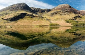 Buttermere, in the Lake District, on a perfectly still spring morning.