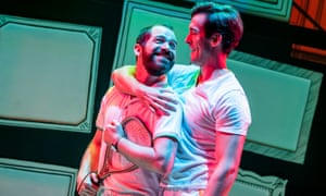 Daniel Boys (Marvin) and Oliver Savile (Whizzer) in Falsettos by William Finn and James Lapine @ The Other Palace. Director and Choreographer Tara Overfield-Wilkinson. (Opening 5-09-19) ©Tristram Kenton 09/19