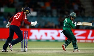 Javeria Khan of Pakistan is bowled by Sarah Glenn of England.