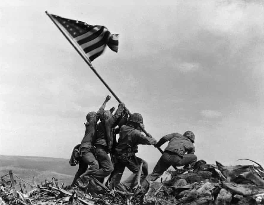 US marines raise the American flag