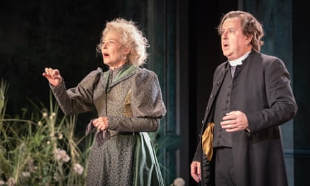 Resisting the general overplaying... Stella Gonet as Miss Prism, with Jeremy Swift as Reverend Chasuble