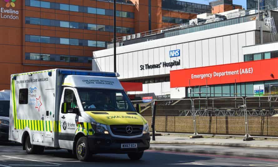 St Thomas' Hospital with an ambulance outside A&E dept