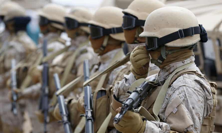 Saudi troops at a base in Yemen.