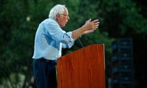 Bernie Sanders campaigns in Sacramento, California, on 22 August.