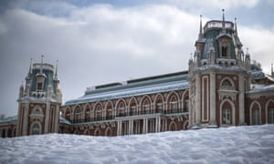 A view of a rebuilt 18th century palace in Moscow's Tsaritsyno Park. Yesterday was Moscow's coldest day of the winter so far.