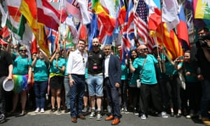 London mayor Sadiq Khan (right) with Matthew Barzun, US ambassador to Britain, at the London Pride march on Saturday.