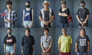 Faces of protesters in Hong Kong
