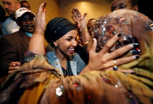 Democratic congressional candidate Ilhan Omar is greeted by her husband's mother after appearing at her midterm election night party in Minneapolis, Minnesota, U.S.