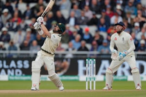 Matthew Wade mistimes a shot and is caught by Joe Root.