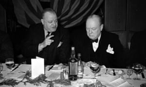 Winston Churchill with the TUC's George Gibson at a lunch in 1941