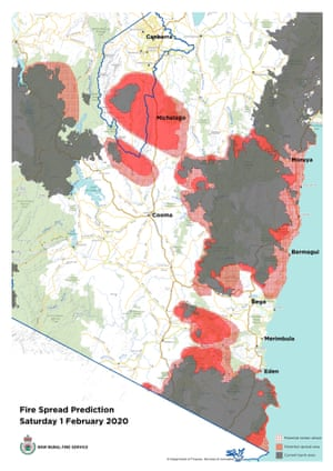 Fire spread prediction for Saturday 1 February 2020 NSW and ACT