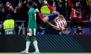 Atlético Madrid's Felipe celebrates his goal in spectacular style.