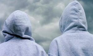 Children wearing hoodies