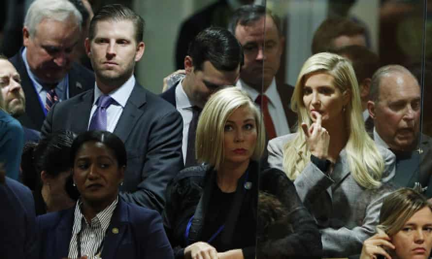 Eric Trump and Ivanka Trump wait at the UN in anticipation of their father's speech.