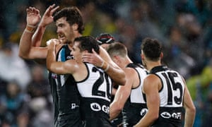 Port Adelaide celebrate Scott Lycett's goal