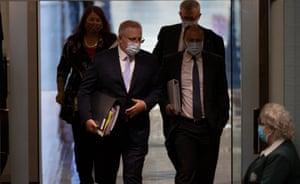 The prime minister, Scott Morrison, and the treasurer, Josh Frydenberg, arrive for question time.