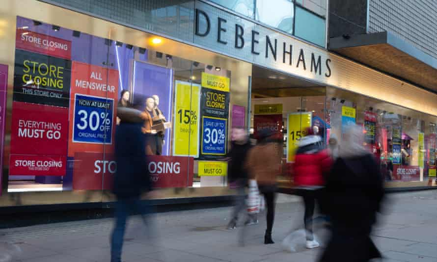 Debenhams in Oxford Street, which is closing down. O'Grady said that in sectors such as hospitality, retail and the arts, BAME employment had 'plummeted'.