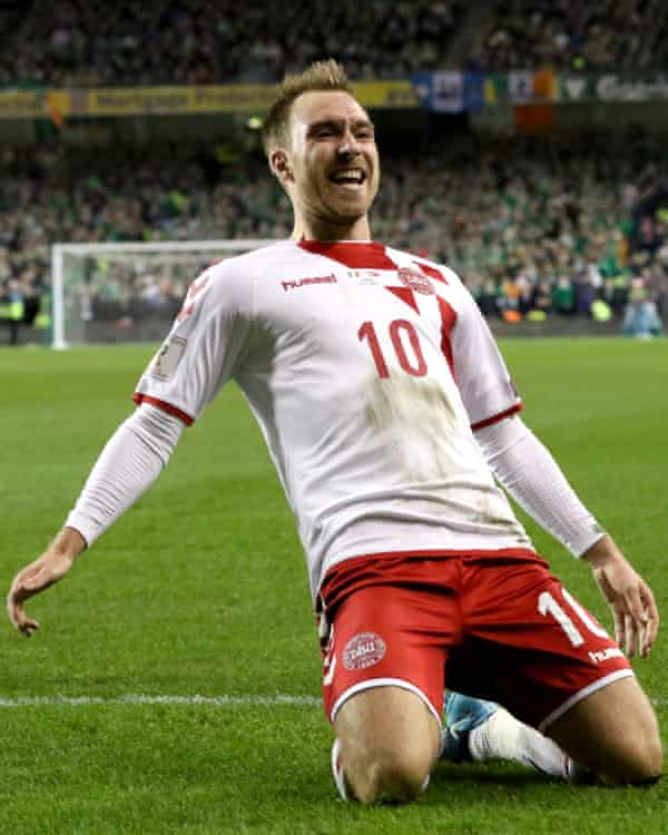 Christian Eriksen celebrates after scoring Denmark's their third goal in the second-leg of the play-off against Republic of Ireland.