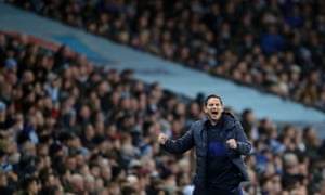 Chelsea manager Frank Lampard celebrates their first goal scored by N'Golo Kante.