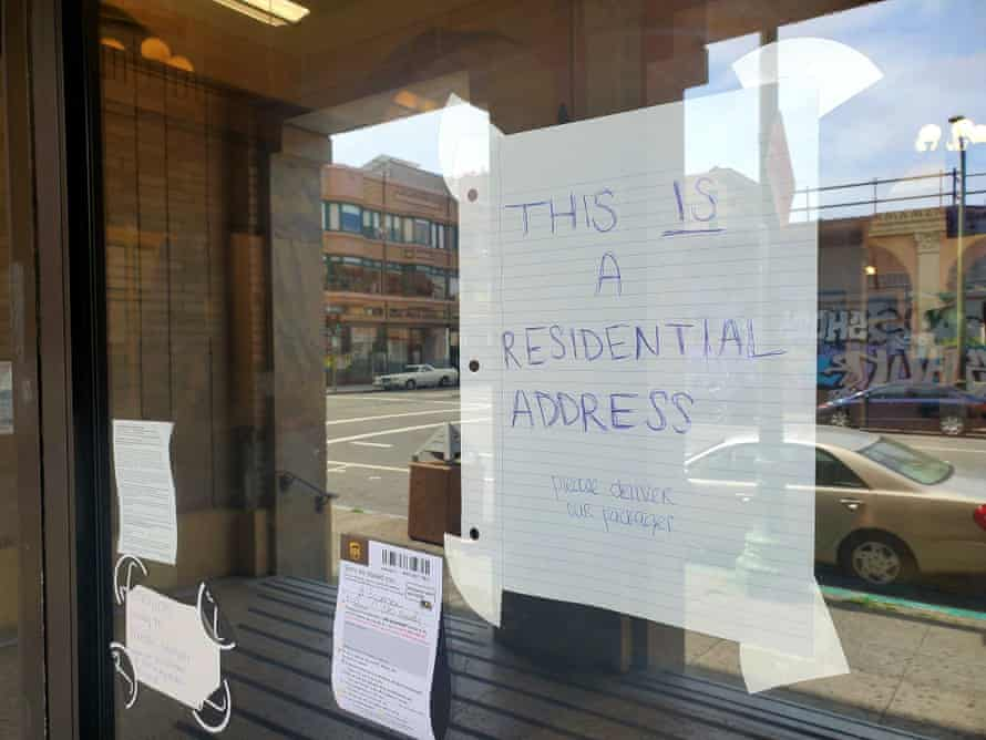 A sign at Starcity Oakland says 'this is a residential address'.