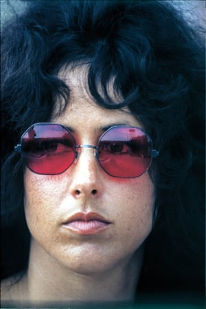 """Grace Slick with Jefferson Airplane ML """"This portrait of Grace was taken in the afternoon of the second day. Grace had been sitting on the side of the stage watching some of the acts before the Jefferson Airplane set""""."""