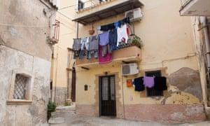 The narrow alleys of Crotone, Italy.