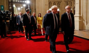Jeremy Corbyn, right, and Boris Johnson at the state opening of parliament