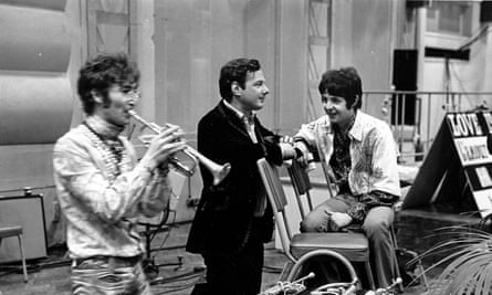 … Brian Epstein, with John Lennon and Paul McCartney, backstage at the Our World live global broadcast from Abbey Road studio.