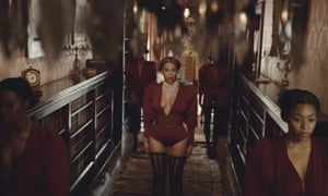 Beyoncé and her back-up dancers, as seen in the video for her new single, Formation.