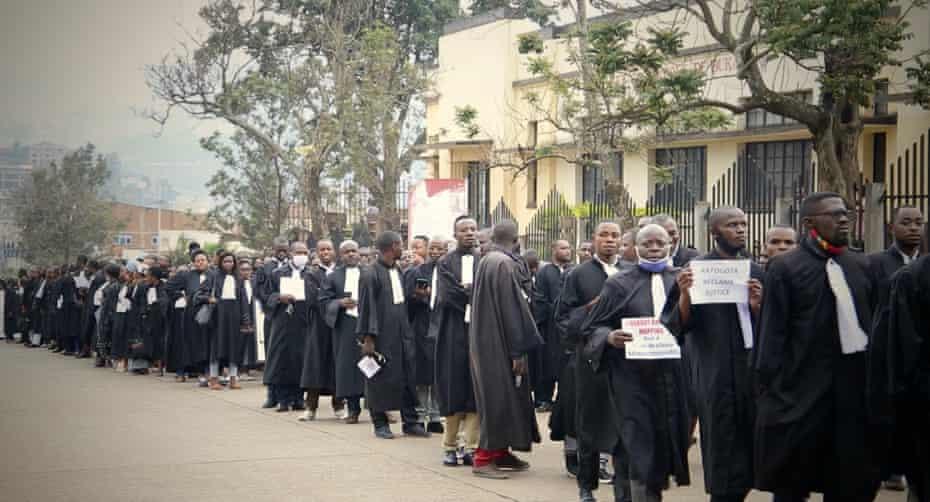 Demonstrators in Bukavu on Thursday.