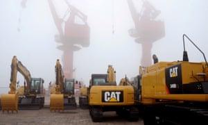 Caterpillar equipment at a Chinese port
