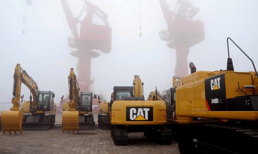 Caterpillar machines at a port in Jiangsu province, China.