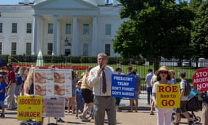 Randall Terry of Operation Rescue, an anti-abortion group, holds an all-day vigil with activists on 9 July 'to support Trump's promise to overturn Roe'.