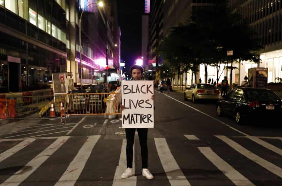 A demonstrator in Manhattan on Monday.
