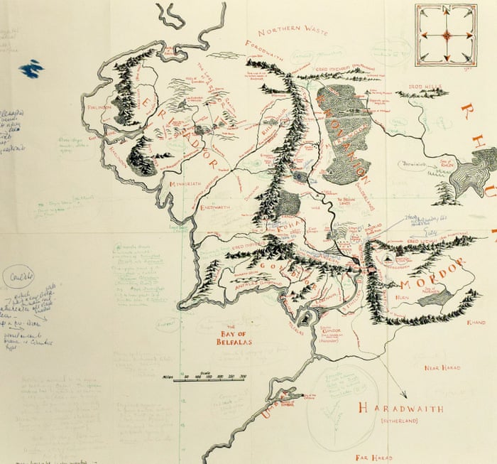 tolkien annotated map of middle earth acquired by bodleian library books the guardian