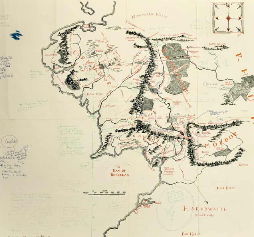 A recently discovered map of Middle-earth annotated by JRR Tolkien