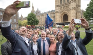 SNP MPs take a selfie after walking out of the House of Commons.