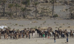 Where's Stannis? Extras and actors in the Spanish village of Pechina for filming on the sixth season of Game of Thrones.